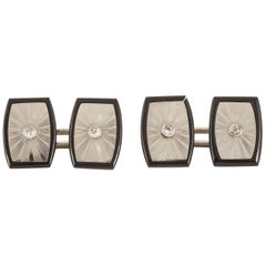 Cufflinks, Onyx in 18 Carat White Gold Set Centre Diamond, circa 1950