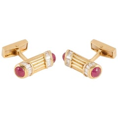 Cufflinks 1970s Adler of London Diamond, Ruby, 18 Carat Gold