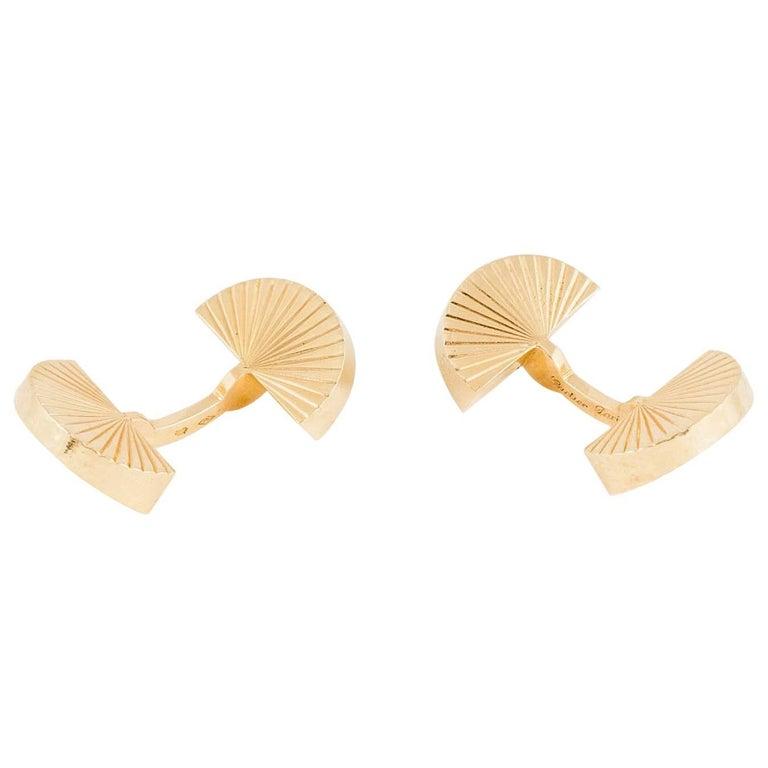 1950s Cartier Paris 18 Carat Gold Fan Shaped Cufflinks