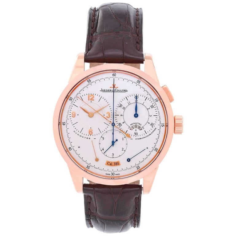Jaeger LeCoultre Rose gold Duometre Chronograph Manual Wristwatch Ref 380A For Sale