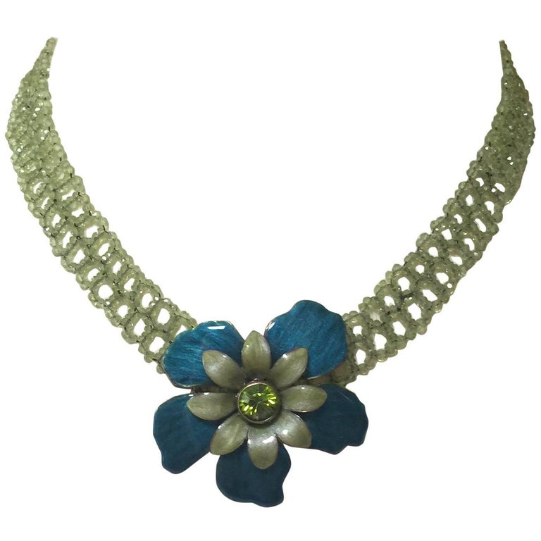 Woven Peridot Necklace with 14 Karat Gold Clasp and Vintage Brooch by Marina J