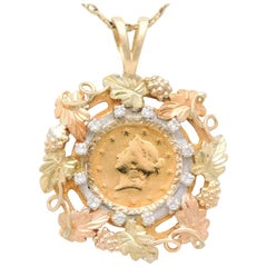 Early Victorian 1851 US Gold Dollar Coin Diamond Vineyard Pendant