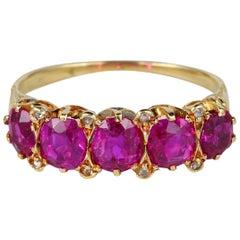 Certified Burma Rubies English Victorian Five-Stone Rare Ring