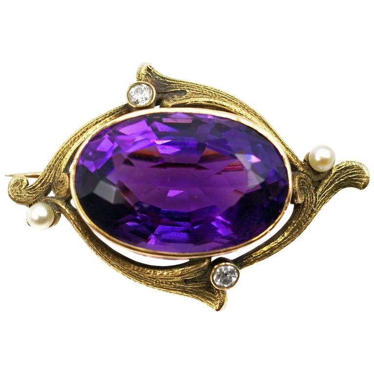 Art Nouveau 35 Carat Amethyst Diamond Pearl Brooch