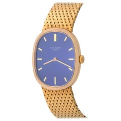 Patek Philippe Yellow Gold Blue Dial Ellipse Manual Wind Wristwatch