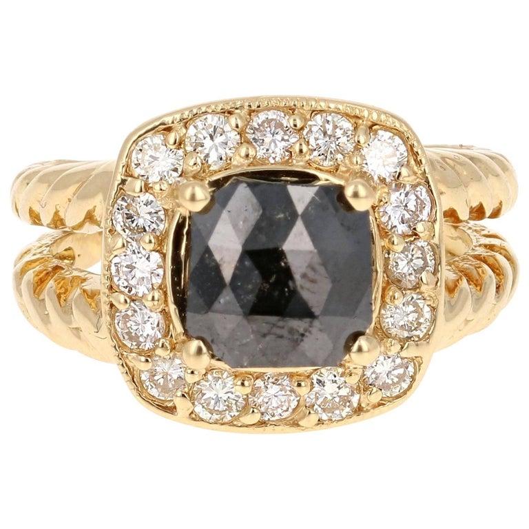 2.11 Carat Black Diamond Yellow Gold Bridal Ring