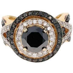 4.19 Carat Black Diamond Bridal Ring