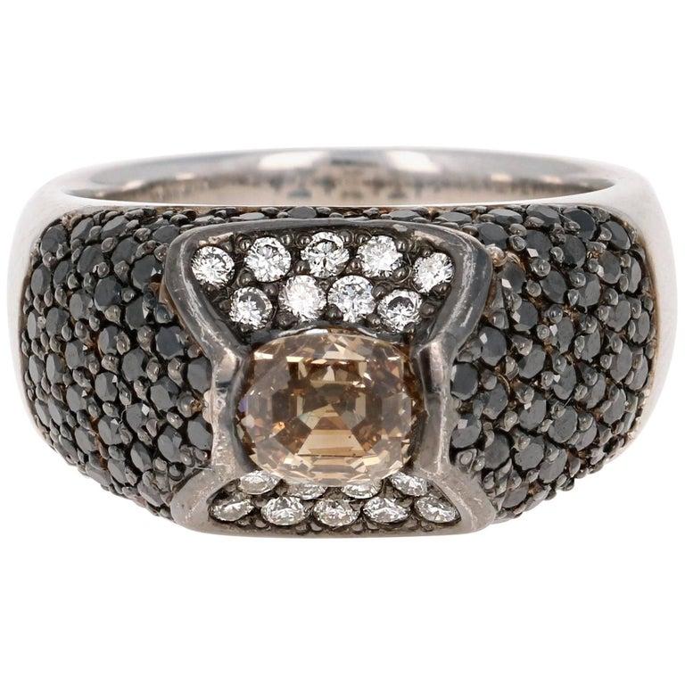 2.76 Carat Black Diamond White Gold Ring