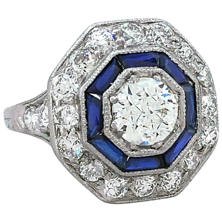 GIA Certified .73 Carat Diamond Sapphire Engagement Fashion Ring Platinum