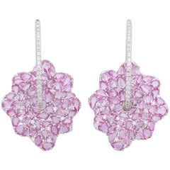Pink Sapphire and Diamond White Gold Earrings