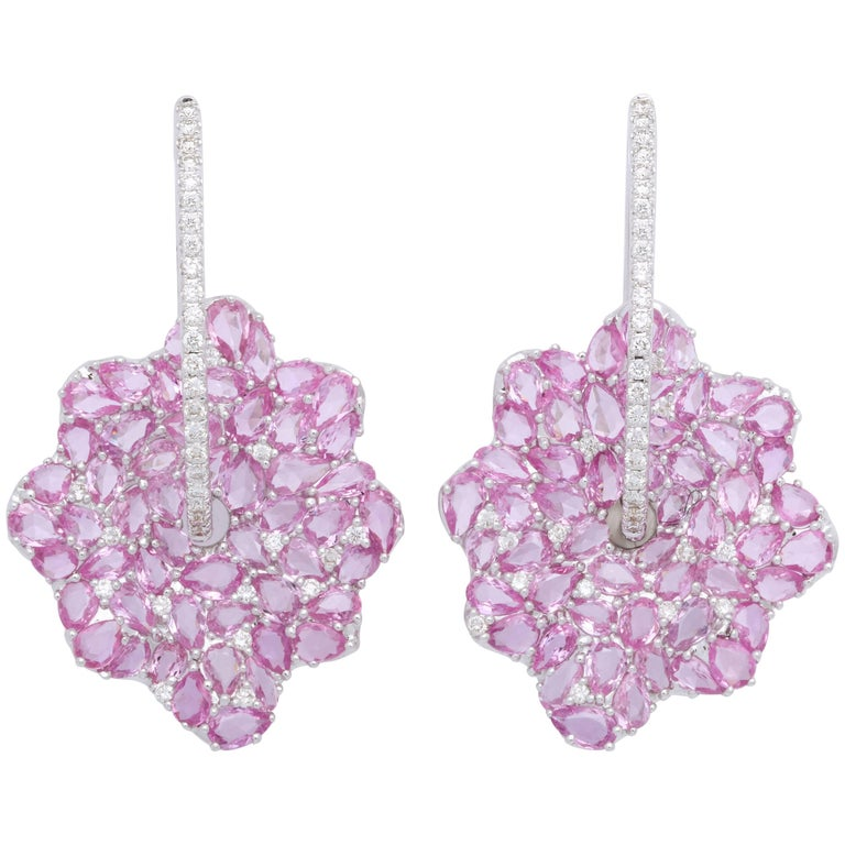 Pink Sapphire and Diamond White Gold Earrings For Sale