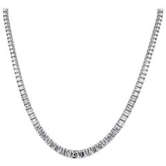 Emerald Cut Diamond Tennis Necklace
