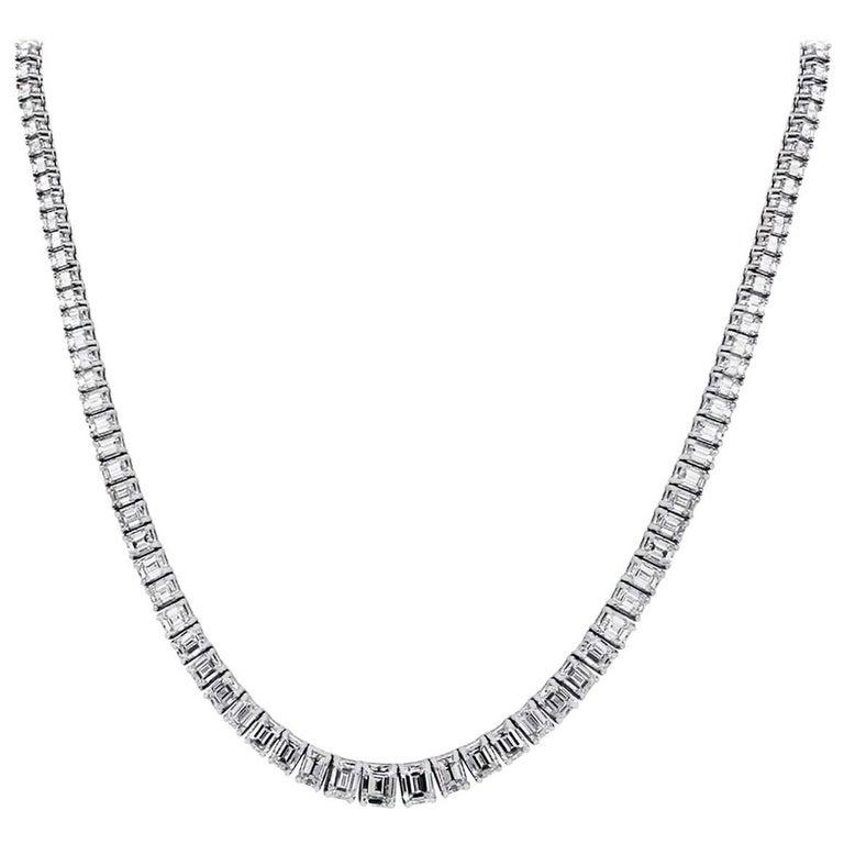 31.03 Carat Emerald Cut Diamond Necklace
