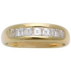Gents Midcentury 18 Karat Asscher-Cut Diamond Wedding Band