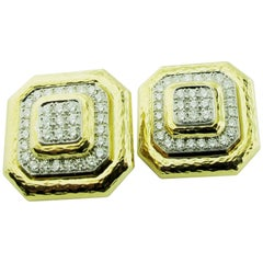 David Webb Diamond and 18 Karat/Plat Yellow Gold Clip-On Earrings