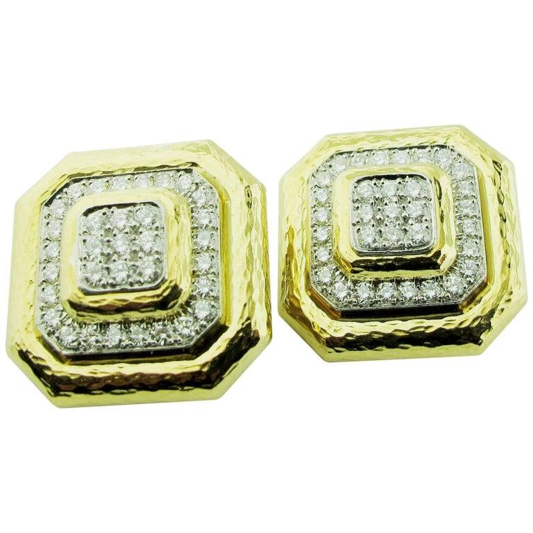 David Webb Diamond and 18 Karat/Plat Yellow Gold Clip-On Earrings