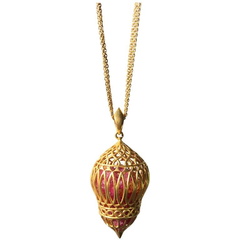 Lauren Harper Multicolored Sapphire Yellow Gold Pendant Necklace