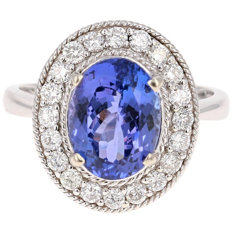 4.27 Carat Tanzanite Diamond White Gold Ring