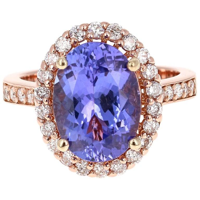 5.38 Carat Tanzanite Diamond Halo Rose Gold Ring