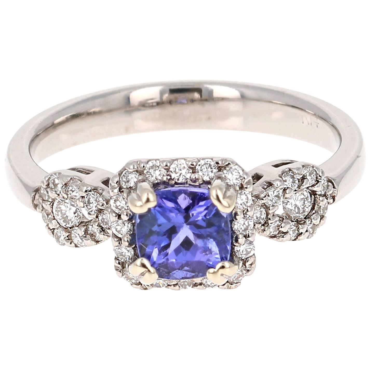 1.10 Carat Tanzanite Diamond 14 Karat White Gold Promise Ring
