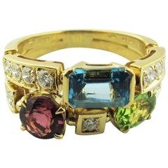 "Bvlgari ""Allegra"" Two-Band Multi-Stone 18 Karat Yellow Gold Ring"
