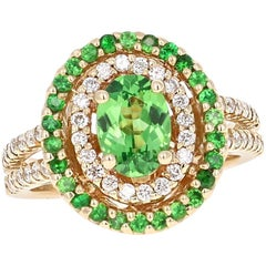1.96 Carat Tsavorite Diamond White Gold Ring