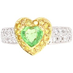 1.40 Carat Tsavorite Diamond White Gold Ring