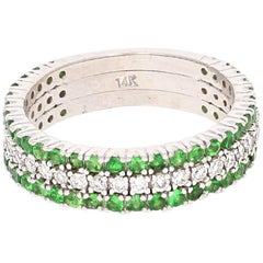 1.01 Carat Tsavorite Diamond White Gold Ring