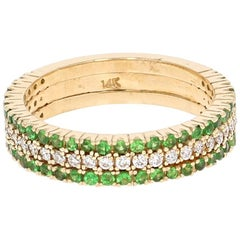 0.97 Carat Tsavorite Diamond Yellow Gold Ring
