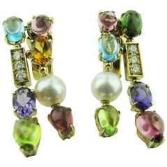 "Bvlgari ""Allegra"" Collection Multi-Stone 18 Karat Yellow Gold Drop Earrings"