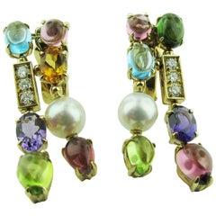 "Bvlgari ""Allegra"" Collection Multi-Stone 18 Karat Yellow Gold Drop Earrings"