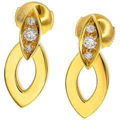Cartier Diamond 18 Karat Yellow Gold Diadea Stud Earrings