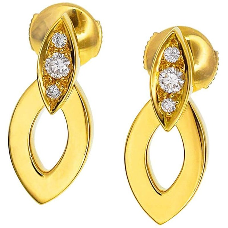 Cartier Diamond Diadea Earrings 18 Karat Yellow Gold