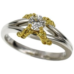 Christian Dior Diamonds 0.218 Carat Diamond Platinum 18 Karat Yellow Gold Ring