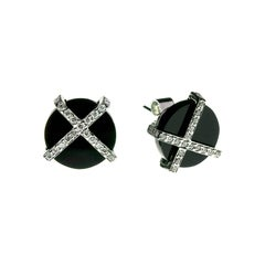 18 Karat White Gold with Onyx and Diamonds Tartan Stud Earrings