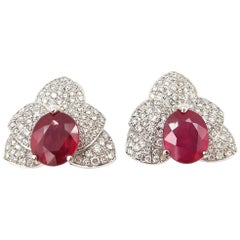 Ruby Diamond Orchid Clip Pin Earrings