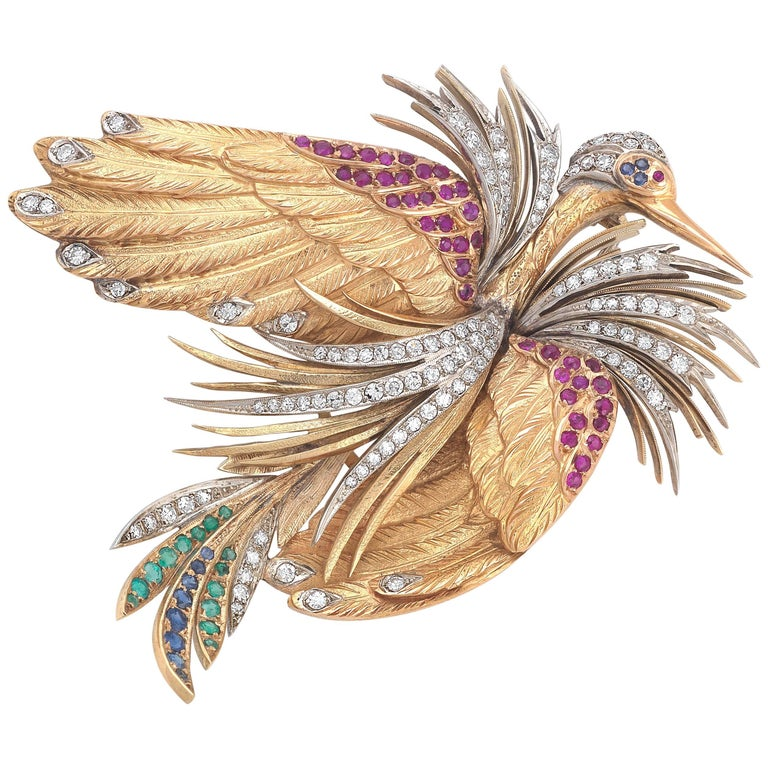 Gem-Set and Diamond Brooch, E. Serafini Italian