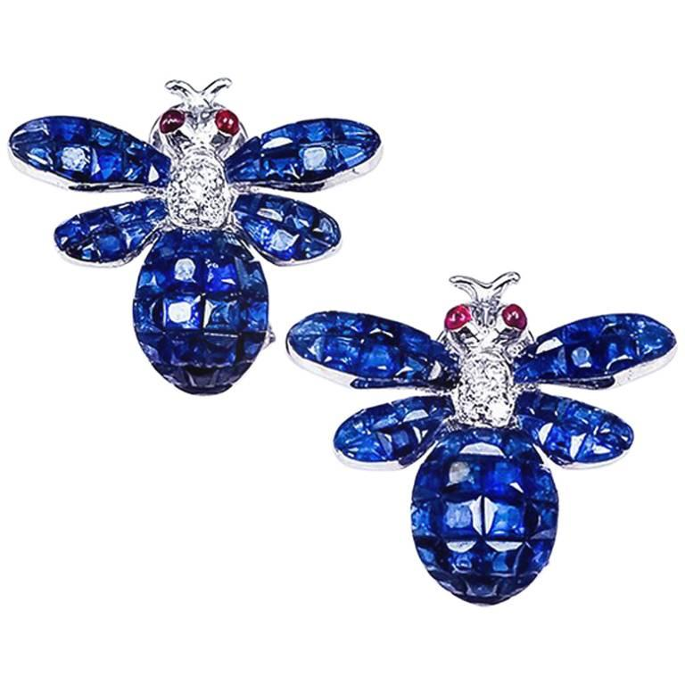 18K White gold invisible Sapphire Bee Earrings For Sale