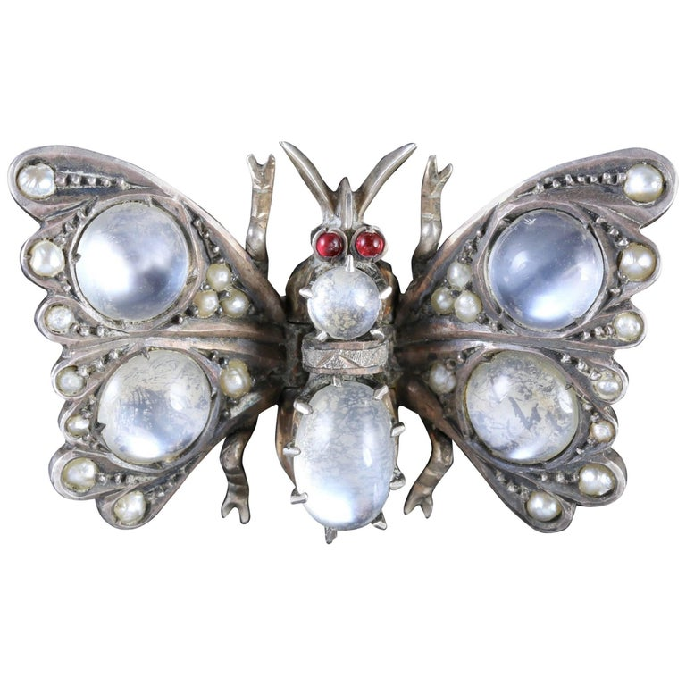 Antique Victorian Moonstone Pearl Garnet Butterfly Brooch, circa 1880