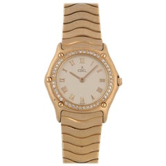 Ebel Ladies Yellow Gold Diamond Set Quartz Bracelet Wristwatch, 1990s