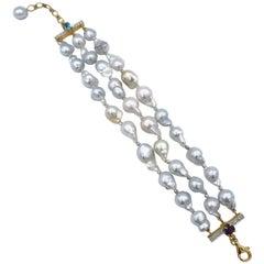 Baby Baroque White Silver South Sea Pearl Bracelet Diamond Amethyst Topaz