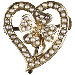 Antique Witches Heart Pearl Brooch 14 Carat Gold, circa 1900