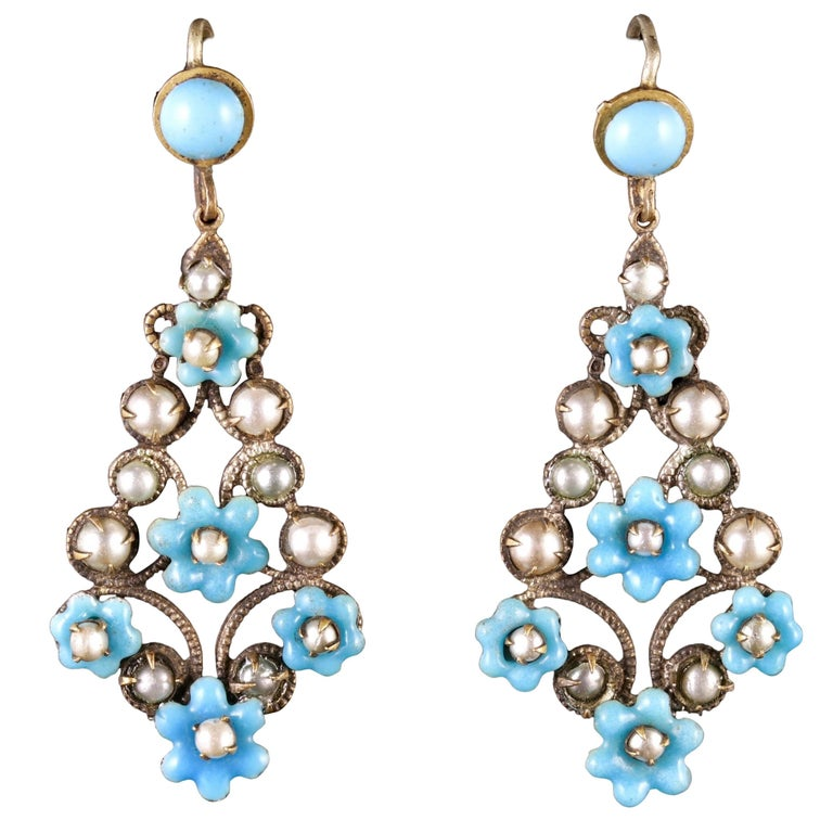 Antique Victorian Turquoise Pearl Forget Me Not Drop Earrings, circa 1900