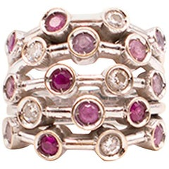 Chanel Ruby, Pink Sapphire and Diamond 18 Karat White Gold Ring