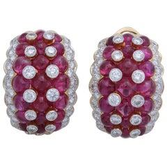 Burmese Ruby and Diamond Clip-On Earrings