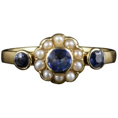 Antique Edwardian Sapphire Pearl Ring Dated 1917