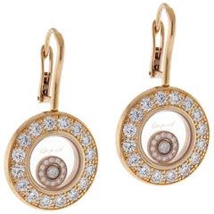 Chopard Happy Diamond Rose Gold Drop Dangle Diamond Earrings
