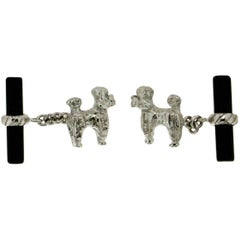 Dog White Gold Onyx Cufflinks
