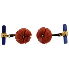 Coral and Lapis Yellow Gold 18 karat  Flower Cufflinks
