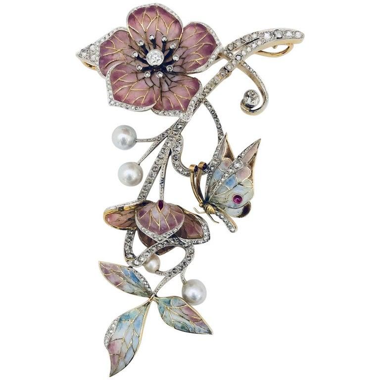 Moira of London 1998 18 Karat Plique a Jour Brooch Pendant For Sale